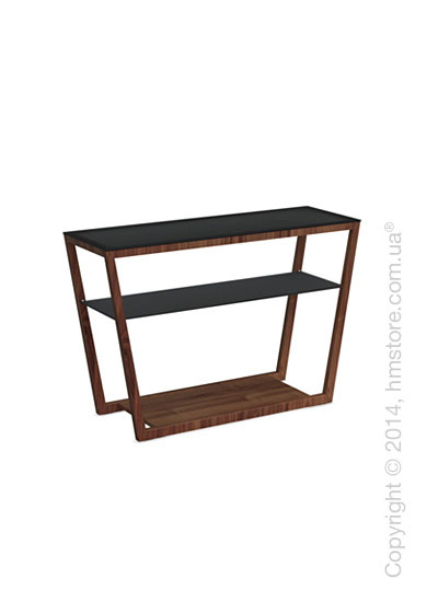 Стол Calligaris Element console table, Veneer walnut and Frosted tempered glass black