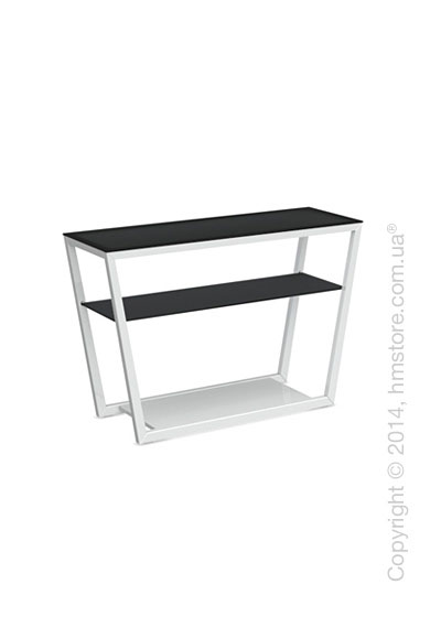 Стол Calligaris Element console table, Lacquered glossy white and Frosted tempered glass black