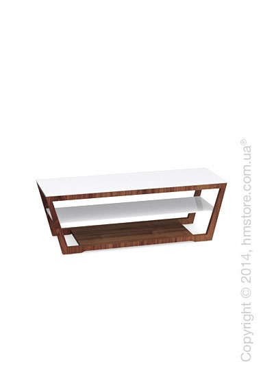 Подставка под телевизор Calligaris Element, Veneer walnut and Frosted tempered glass extrawhite