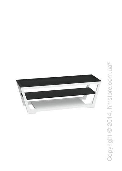 Подставка под телевизор Calligaris Element, Lacquered glossy white and Frosted tempered glass black