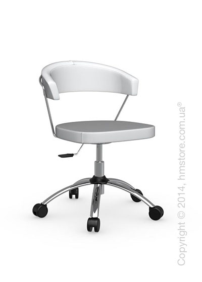 Кресло Calligaris New York, Swivel chair, Leather optic white