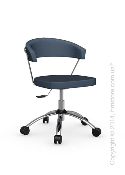 Кресло Calligaris New York, Swivel chair, Leather arctic blue
