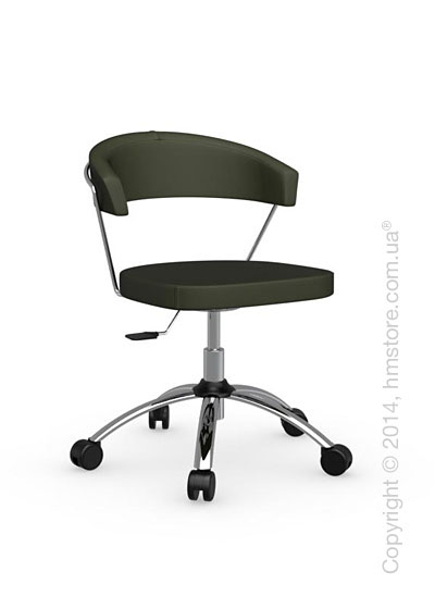 Кресло Calligaris New York, Swivel chair, Leather olive green