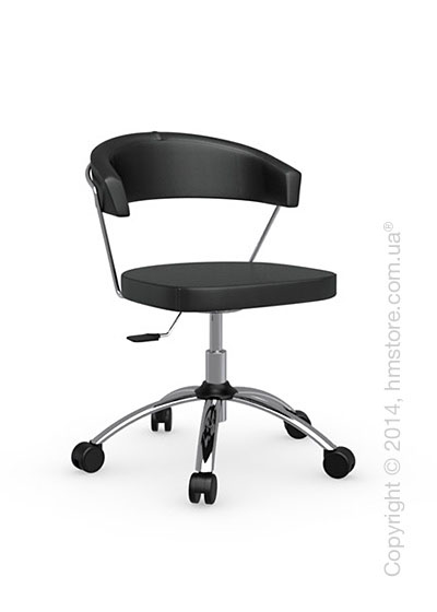 Кресло Calligaris New York, Swivel chair, Leather black