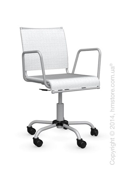Кресло Calligaris Web Race, Swivel chair, Metal matt silver and Joy coating optic white
