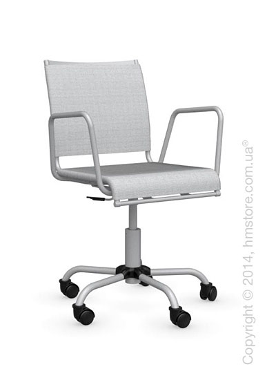 Кресло Calligaris Web Race, Swivel chair, Metal matt silver and Joy coating light grey
