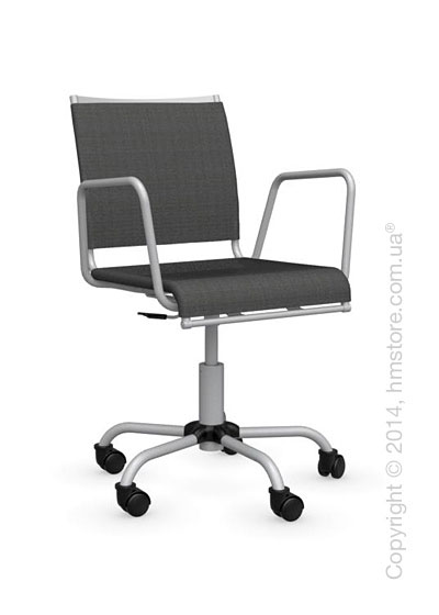Кресло Calligaris Web Race, Swivel chair, Metal matt silver and Joy coating anthracite grey