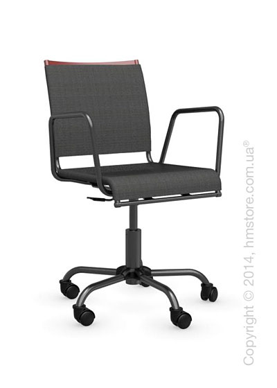 Кресло Calligaris Web Race, Swivel chair, Metal matt red and Joy coating anthracite grey