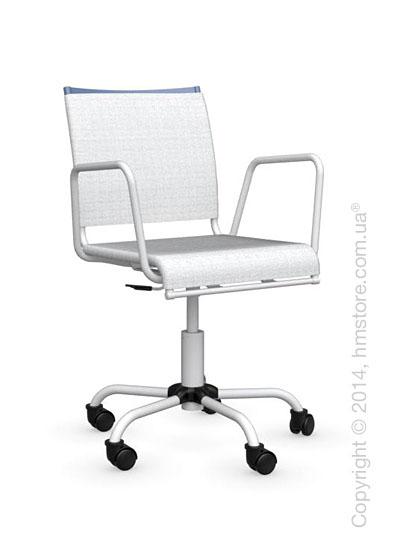 Кресло Calligaris Web Race, Swivel chair, Metal sky blue and Joy coating optic white