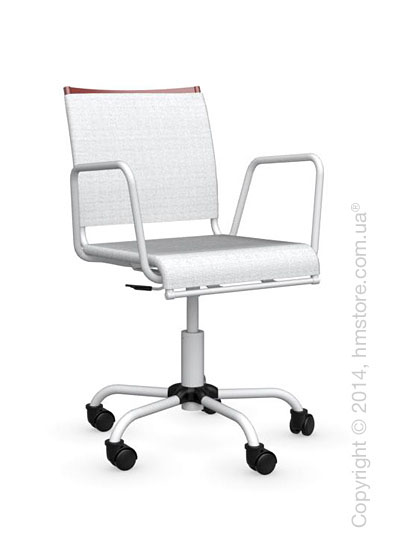 Кресло Calligaris Web Race, Swivel chair, Metal matt red and Joy coating optic white