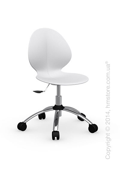 Кресло Calligaris Basil, Metal and plastic swivel chair, Plastic matt optic white