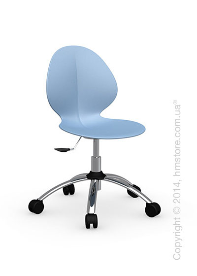Кресло Calligaris Basil, Metal and plastic swivel chair, Plastic sky blue
