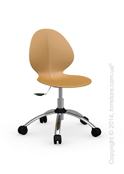 Кресло Calligaris Basil, Metal and plastic swivel chair, Plastic mustard yellow