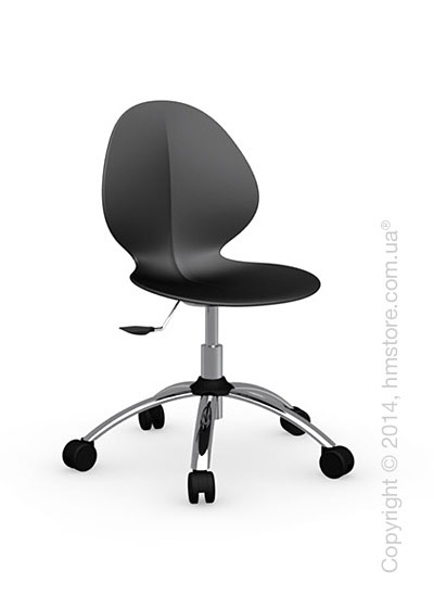 Кресло Calligaris Basil, Metal and plastic swivel chair, Plastic matt black