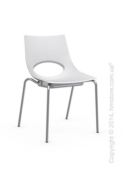 Стул Calligaris Congress, Stackable chair, Metal chromed and Plastic matt optic white