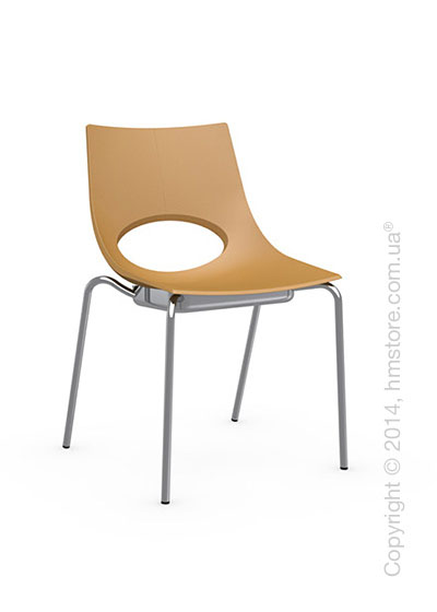 Стул Calligaris Congress, Stackable chair, Metal chromed and Plastic mustard yellow