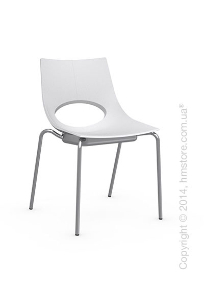 Стул Calligaris Congress, Stackable chair, Metal satin steel and Plastic matt optic white