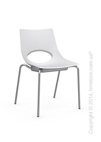 Стул Calligaris Congress, Stackable chair, Metal satin steel and Plastic matt optic white
