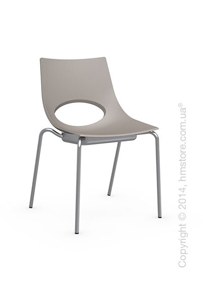 Стул Calligaris Congress, Stackable chair, Metal satin steel and Plastic taupe