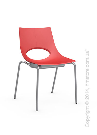 Стул Calligaris Congress, Stackable chair, Metal satin steel and Plastic red