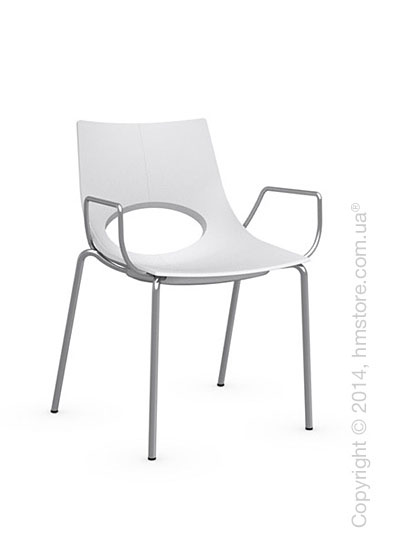 Стул Calligaris Congress, Stackable chair with armrests, Metal satin steel and Plastic matt optic white