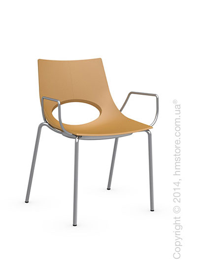 Стул Calligaris Congress, Stackable chair with armrests, Metal satin steel and Plastic mustard yellow