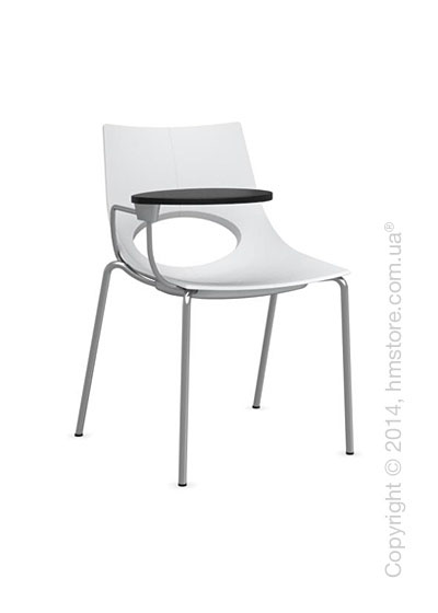 Стул Calligaris Congress, Chair with armrests and writing table, Metal satin steel and Plastic matt optic white