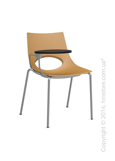 Стул Calligaris Congress, Chair with armrests and writing table, Metal satin steel and Plastic mustard yellow