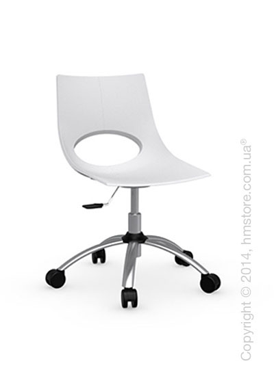 Кресло Calligaris Congress, Swivel chair, Metal satin steel and Plastic matt optic white