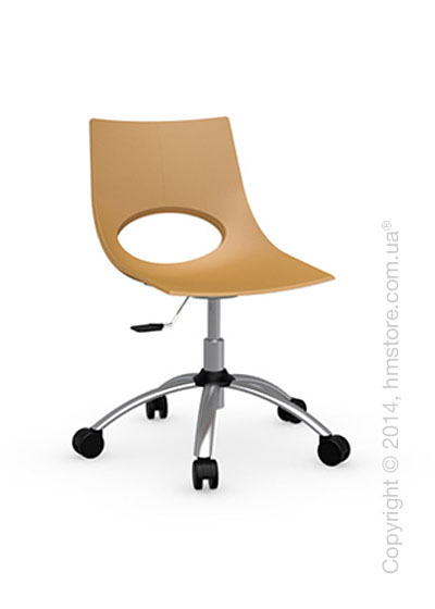 Кресло Calligaris Congress, Swivel chair, Metal satin steel and Plastic mustard yellow