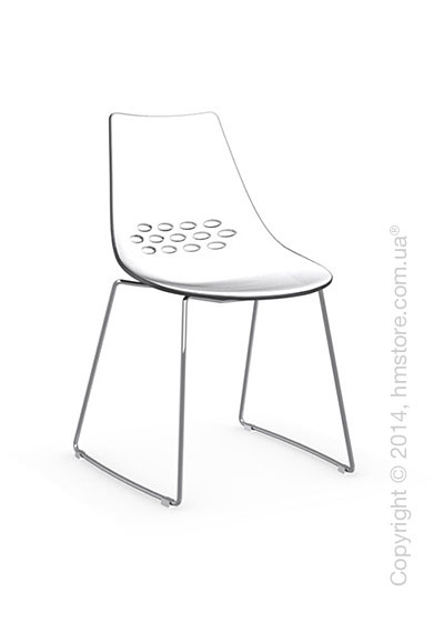 Стул Calligaris Jam, Metal chair sled base, Plastic white and transparent