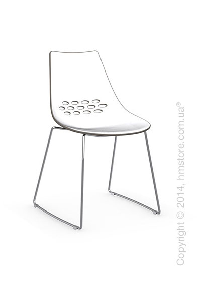 Стул Calligaris Jam, Metal chair sled base, Plastic white and taupe transparent