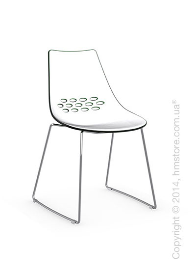 Стул Calligaris Jam, Metal chair sled base, Plastic white and green transparent