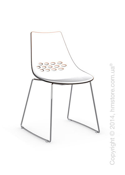 Стул Calligaris Jam, Metal chair sled base, Plastic white and orange transparent