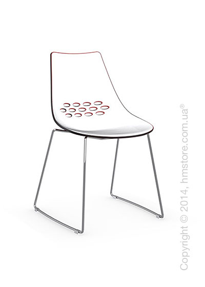 Стул Calligaris Jam, Metal chair sled base, Plastic white and red transparent