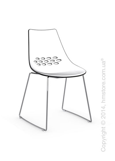Стул Calligaris Jam, Metal chair sled base, Plastic white and glossy black