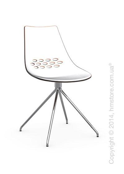 Стул Calligaris Jam, Metal chair, Plastic white and orange transparent
