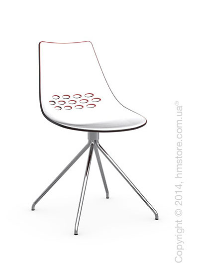Стул Calligaris Jam, Metal chair, Plastic white and red transparent