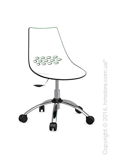 Кресло Calligaris Jam, Swivel chair, Plastic white and green transparent