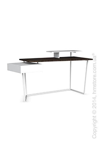 Стол Calligaris Layers, Metal matt optic white, Veneersmoke and Lacquered matt optic white