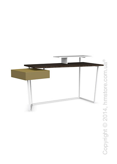 Стол Calligaris Layers, Metal matt optic white, Veneer smoke and Lacquered mustard yellow matt