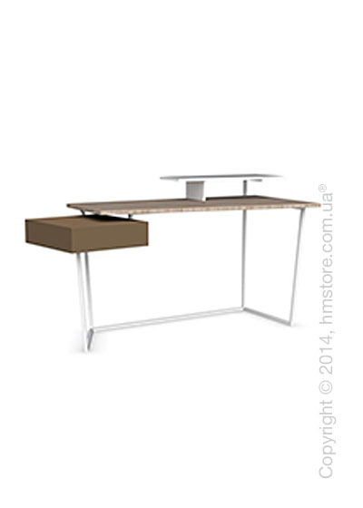 Стол Calligaris Layers, Metal matt optic white, Veneer natural and Lacquered matt nougat