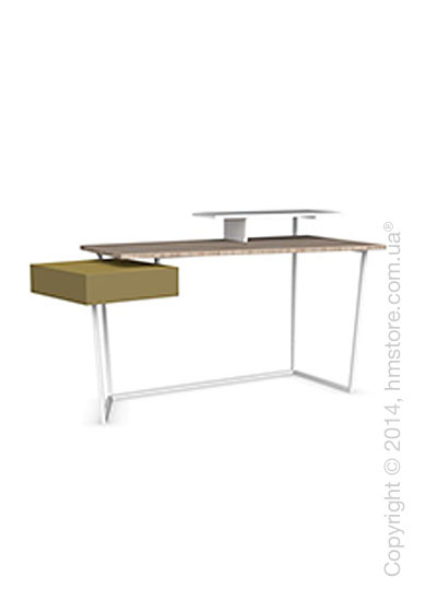 Стол Calligaris Layers, Metal matt optic white, Veneer natural and Lacquered mustard yellow matt