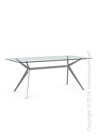Стол Calligaris Seven L, Tempered glass transparent and Metal chromed