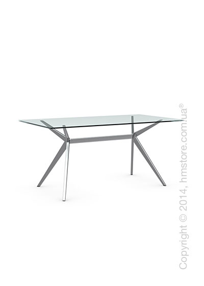 Стол Calligaris Seven M, Tempered glass transparent and Metal chromed
