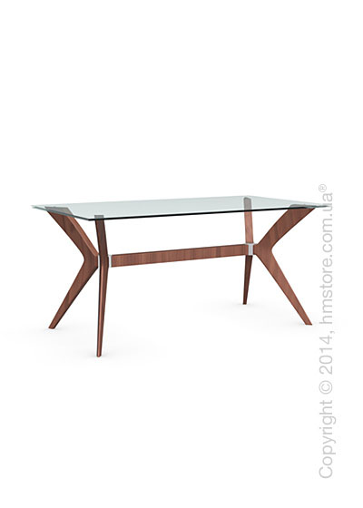 Стол Calligaris Tokyo S, Tempered glass transparent and Solid wood walnut