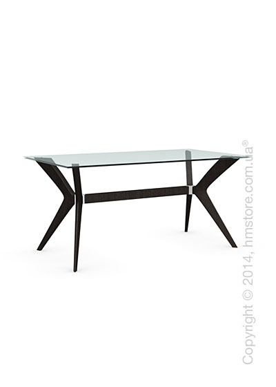 Стол Calligaris Tokyo S, Tempered glass transparent and Solid wood wenge
