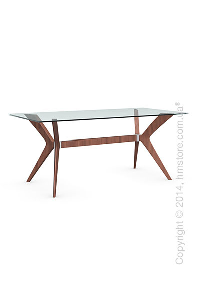 Стол Calligaris Tokyo M, Tempered glass transparent and Solid wood walnut