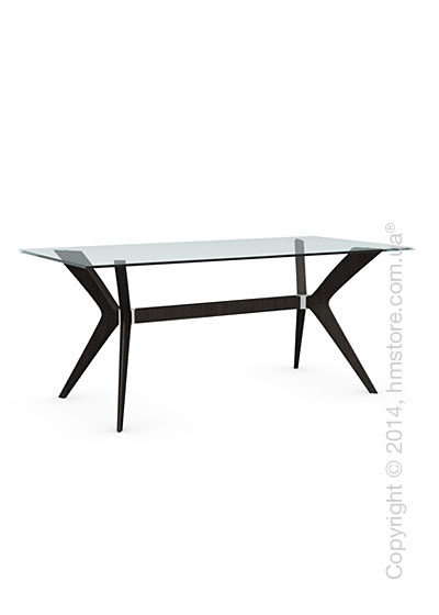 Стол Calligaris Tokyo M, Tempered glass transparent and Solid wood wenge