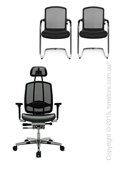 Комплект – кресло Wagner AluMedic 10, два кресла AluMedic 50 Visit, Black